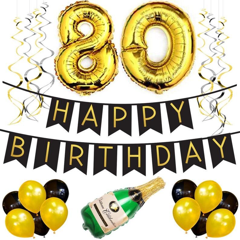 80th Birthday Party Pack Black Gold Happy Birthday Etsy