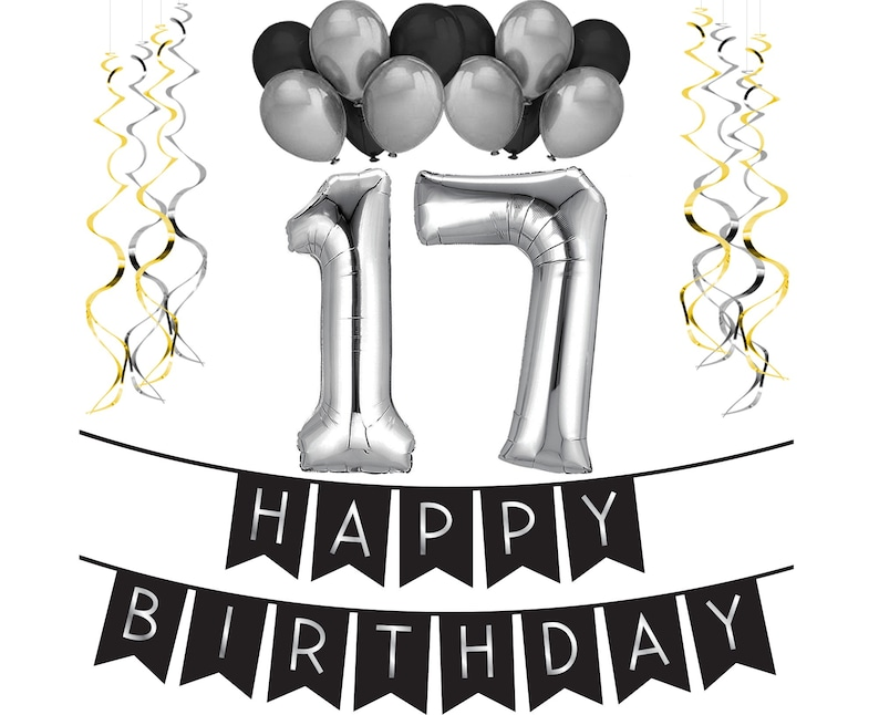 17th Birthday Party Pack Black Silver Happy