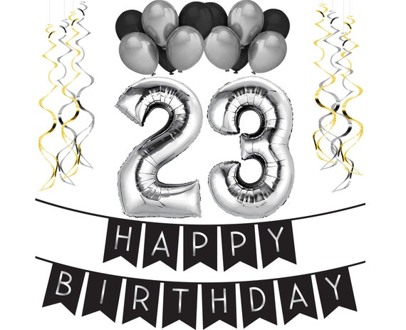 23rd Birthday Party Pack Black Silver Happy