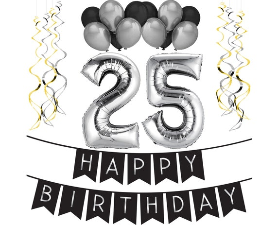 25th Birthday Party Pack Black Silver Happy