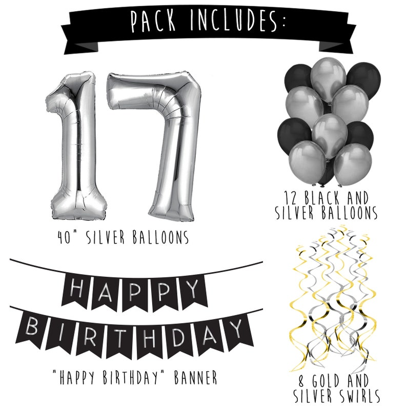 17th Birthday Party Pack Black Silver Happy Image 1