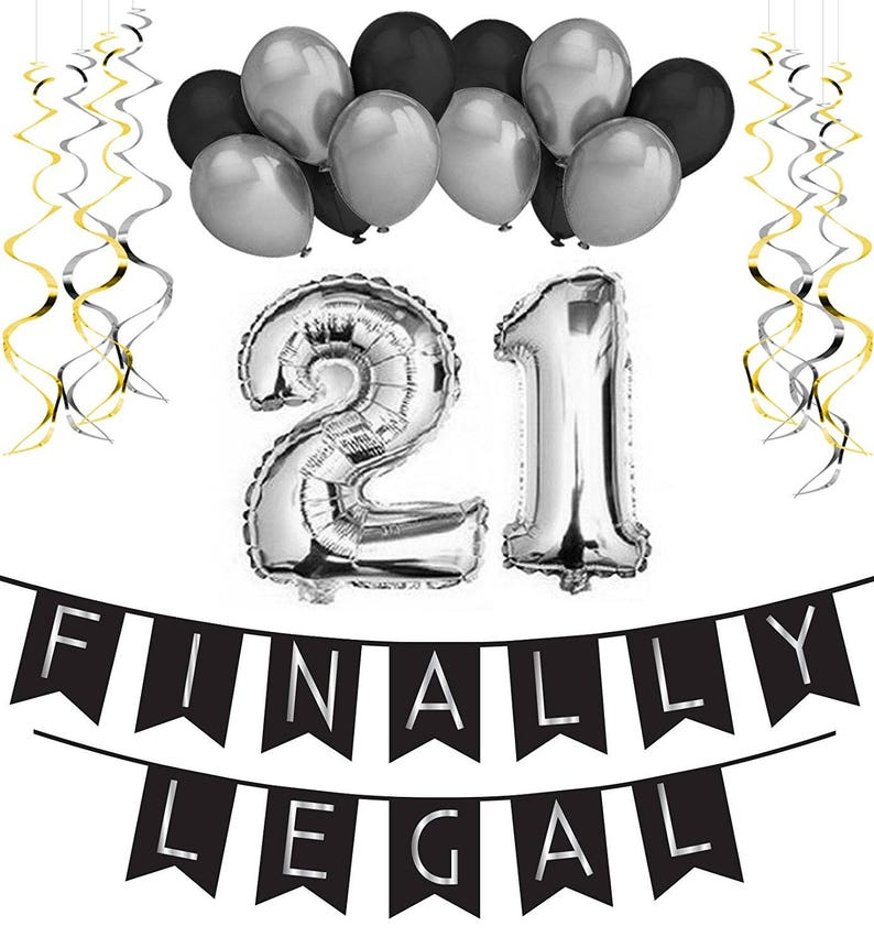 21st Birthday Party Pack Black Silver Happy