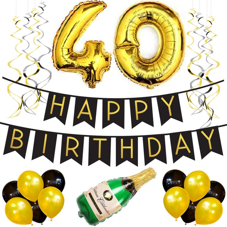 40th Birthday Party Pack Black Gold Happy