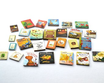 1:12 scale dollhouse miniature children's books printable, new and vintage picture books