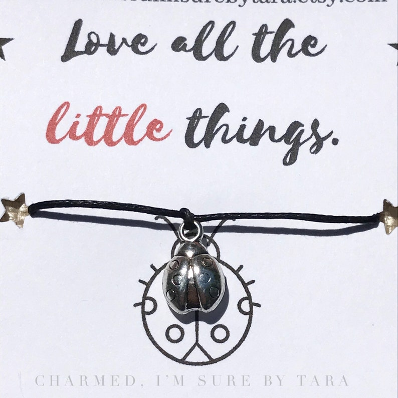 Love all the little things ladybug wish bracelet waxed cord inspirational jewelry