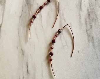 Dangle wire-wrapped earrings