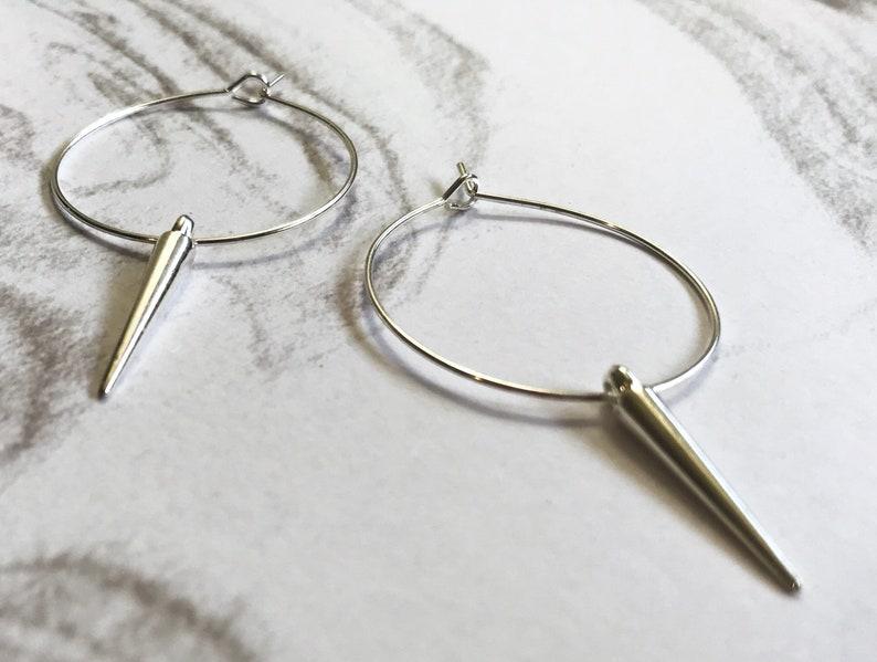 Silver spike hoop earrings