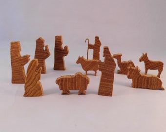 NATIVITY SCENE CHRISTMAS Wood, 11 Figures, Mary, Joseph, Jesus, 3 Kings, Christian, Religion, oak, Ornament, Decoration, Shelf, Display