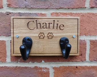 PERSONALISED HOOKS, Engraved Wood Hooks, Dog Puppy Name Hooks, Custom Lead, Leash, Collar Hanger, Puppy Gift, Dog Lover, Personalised Gift