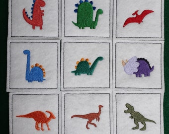 Match Game - Dinosaurs - Memory Game - Compliant toy - Quiet time game - Travel game