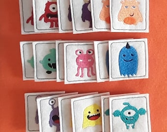 Match Game - Monsters - Memory Game - Compliant toy - Quiet time game - Travel game