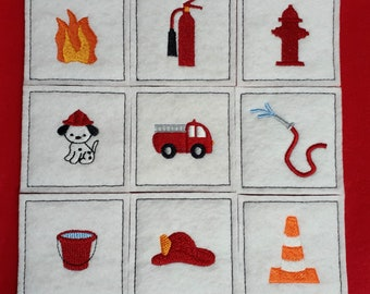 Match Game - Firehouse - Memory Game - Compliant toy - Quiet time game - Travel game
