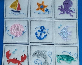 Match Game - Sea Life - Memory Game - Compliant toy - Quiet time game - Travel game - Beach game