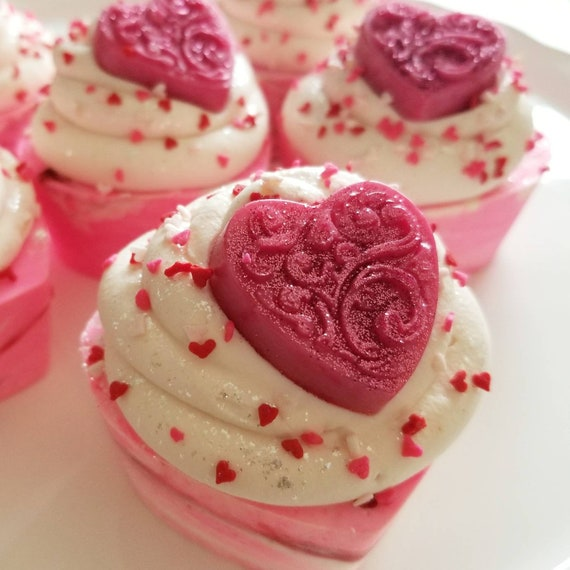 Lick Me All Over Sea Salt Soap Heart Cupcakes