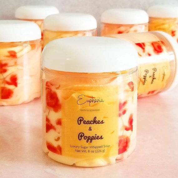 SALE! Peaches & Poppies Sugar Whip / Sugar Scrub / Bath Whip / Sugar Scrub Soap