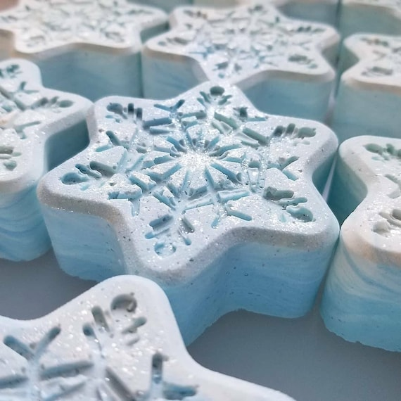 ON SALE Winter Gardenia Snowflake Sea Salt Bars /Handmade Soap/ Cold Processed Soap
