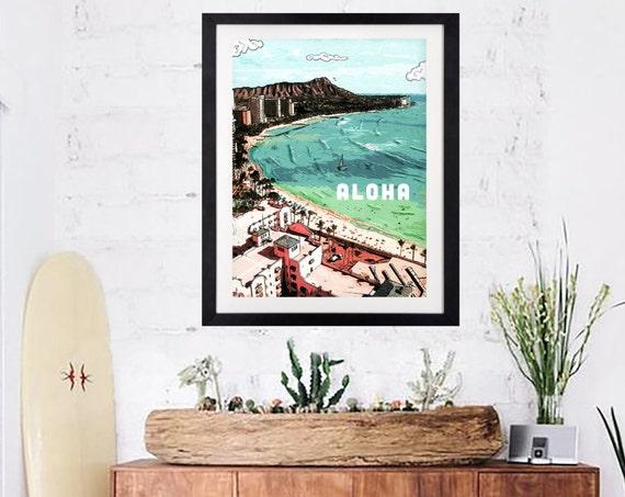 """Aloha Waikiki""- Print, Framed Print, Canvas Giclee"
