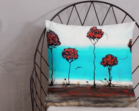 The Water's Edge- A Rose Tree Forest- Original Artwork Designer Pillow, Decorative Pillow or Throw Pillow for Home Decor