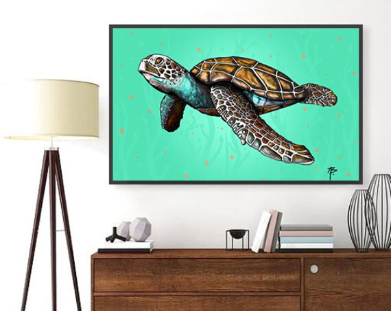 Aloha Honu- Sea Turtle Modern Hawaii Style Original Art- Print, Framed Print, or Canvas Giclee- Turtle swims in the warm Hawaii ocean water