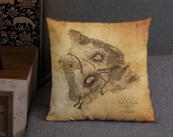 Antique Map- Big Island Hawaii- Old World Style Accent Pillow