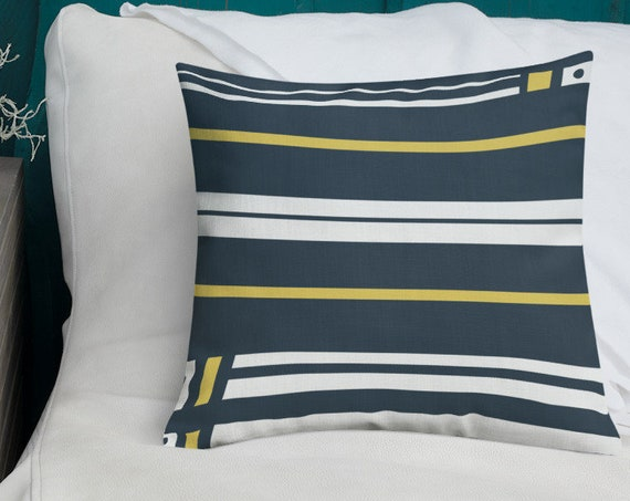 Navy Striped Accent Pillow