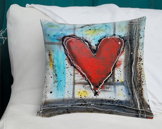 Love Heals All- Heart Pillow from Original Artwork- Designer Abstract Pillow, Decorative Pillow, Throw Pillow for Modern Home Decor