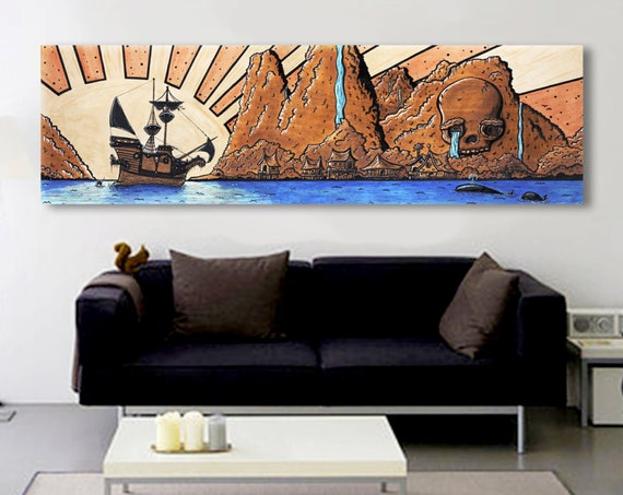 Discovering the Captain's Keep- Pirate Island Original Art- Print, Framed Print, or Canvas Giclee- Pirate Ship Skull Island Mermaid Painting