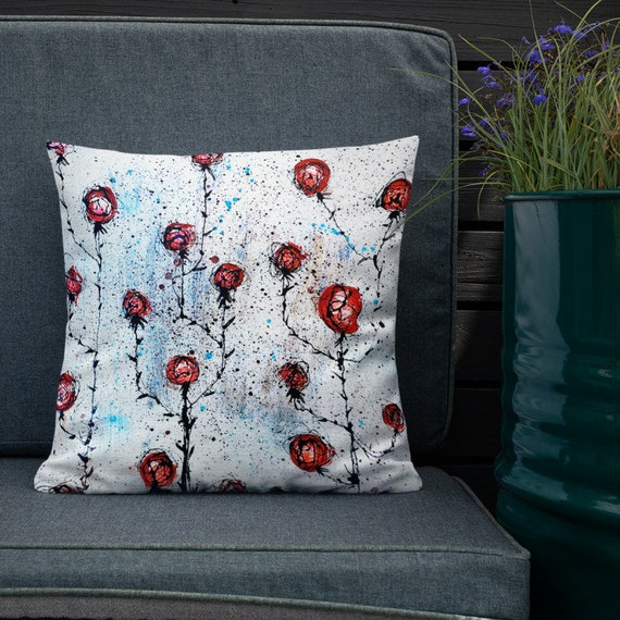 Farmer's Roses- Abstract Floral Accent Pillow