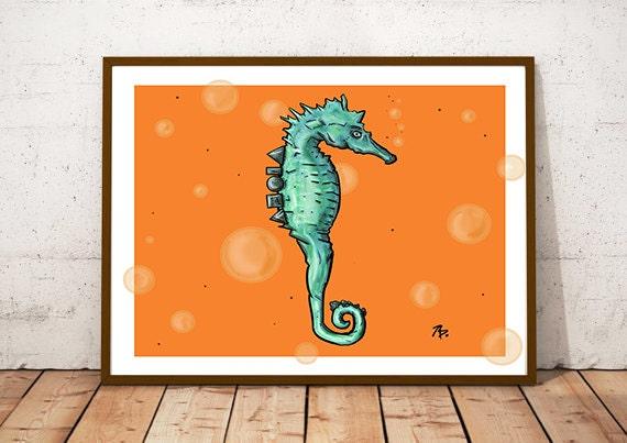 """""""Aloha Seahorse""""- Print, Framed Print, or Canvas Giclee"""