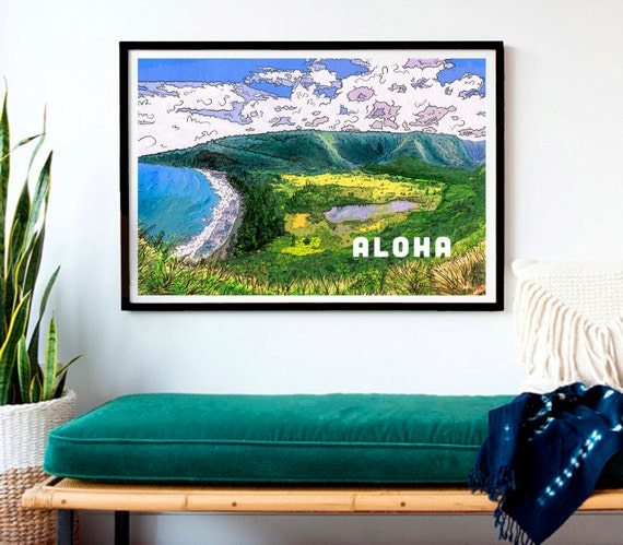 "Vintage Hawaii Style ""Aloha Waipio"" Original Artwork- Print, Framed Print, or Canvas Giclee- Discover waterfalls in the valleys of Hawaii"