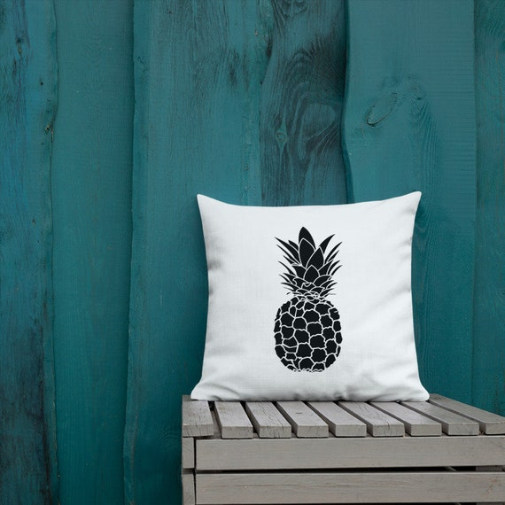 Aloha Pineapple Black and White- Accent Pillow- Minimalist Decor- Tropical Pineapple Decor