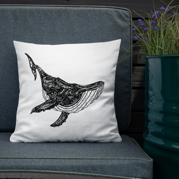 "Humpback Whale Throw Pillow- Black and White Inked Whale- 18""x18"" Decorative Pillow"