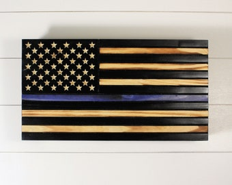 Thin Blue Line American Flag with hidden gun storage, Concealment Flag, Wooden flag with Hidden Compartment, concealment furniture