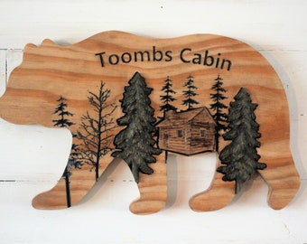Bear Lodge Last Name Sign with cabin,mountain and trees. 3d carved wood name sign. Engraved personalized sign. Country wedding decor.