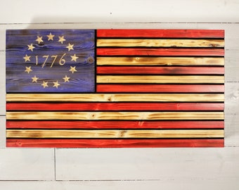 Wood Betsy Ross Flag with hidden gun storage, 1776 American Concealment Flag, Wooden flag with Hidden Compartment, concealment furniture