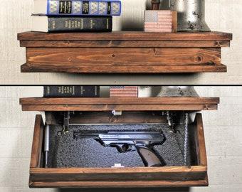 Floating Shelf With Hidden Gun Storage Hidden Compartment Gun Concealment  Furniture Hidden Jewelry Box Rustic Floating Shelf