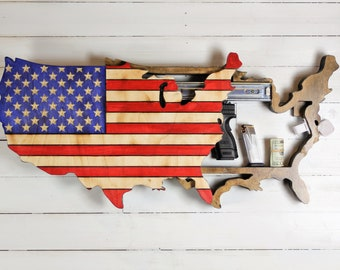 Wooden American Flag shaped like United States map Wall Art with Hidden Gun Concealment compartment, Concealment Flag gun case