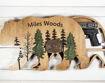 Wood Wall Art with Hidden Gun Case, Personalized Cabin Sign with Gun concealment compartment, Bear Shaped Concealment Shelf,