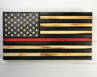 Thin Red Line Wooden American Flag with hidden Compartment,  Firefighter Flag, Concealment Flag, Wooden flag with Hidden gun storage
