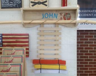 Pesonalized Karate belt display with Shelf, martial arts medal and trophy shelf, gear organization