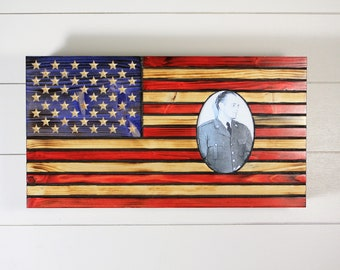Wooden American Flag with picture frame hidden gun storage, Concealment Flag to celebrate veteran, Wooden flag with Hidden Compartment