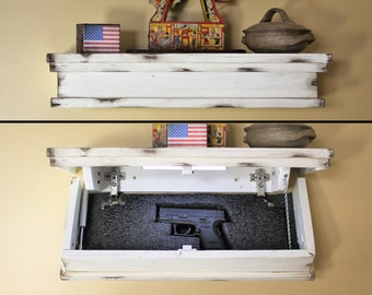 Floating Shelf with Hidden Gun Storage and Personalized Key 23 in Distressed Gun Concealment Furniture  with Hidden Compartment
