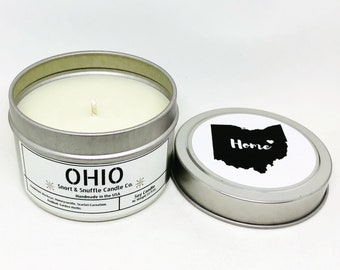 Ohio Home Candle- 4OZ- Scented Candle- Soy Candle- Moving Gift- State Candle- State Gift- State Decor- Homesick- Housewarming- Friend Gift