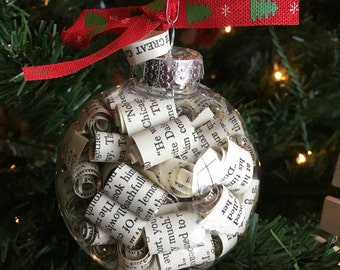 Great Gatsby F. Scott Fitzgerald Book Page Christmas Ornament