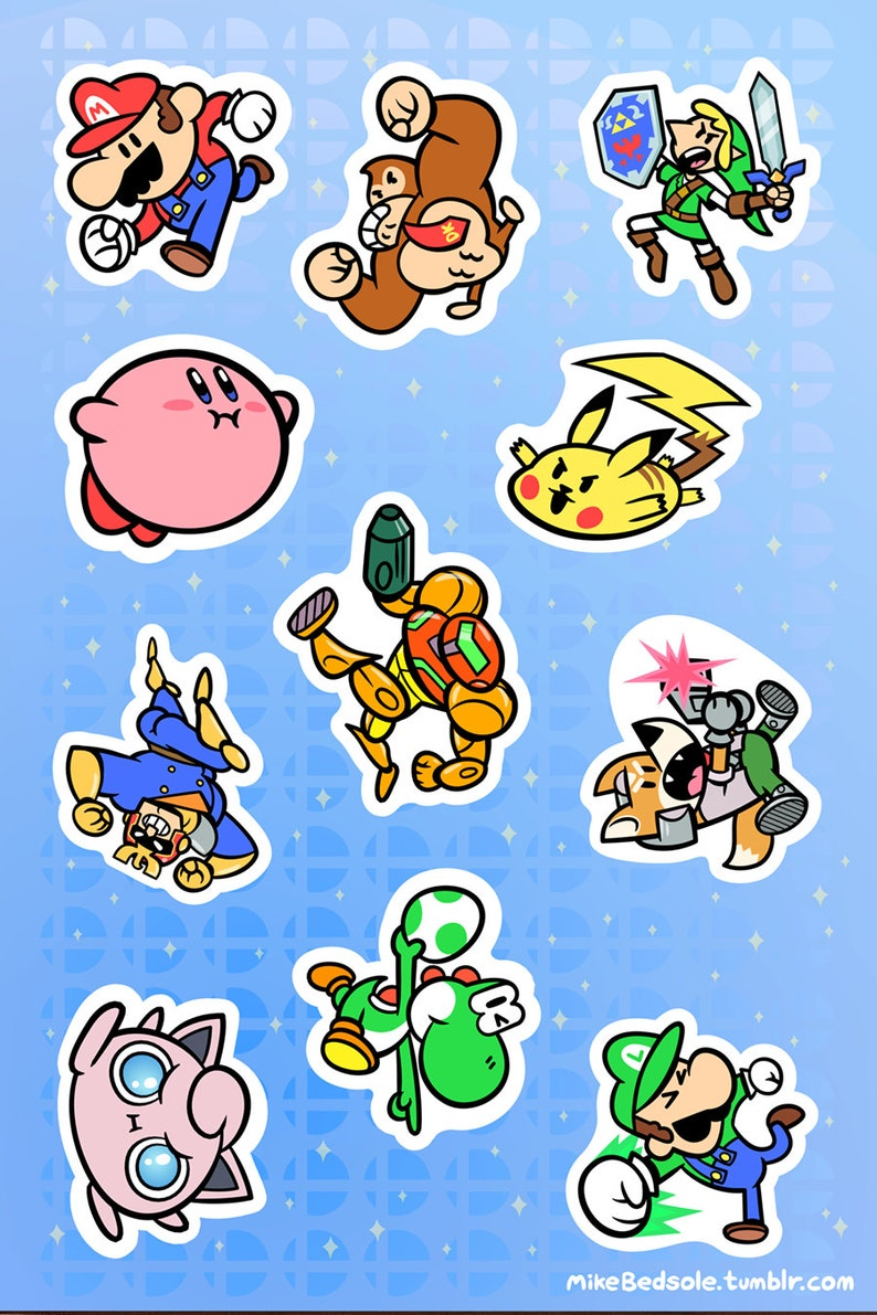 898d79ab Super Smash Bros 6x4 Sticker Sheet 1 | Etsy