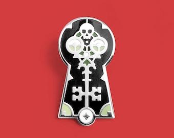 Skeleton Key Enamel Lapel Pin Badge // Artist Series pin by Nick Matej // Skull Keyhole Gift