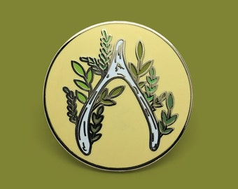 Wishbone Succulent Plant Embroidery Enamel Lapel Pin Badge // Artist Series pin by Tusk + Twine // Bone Skeleton Needlework Hoop Thread