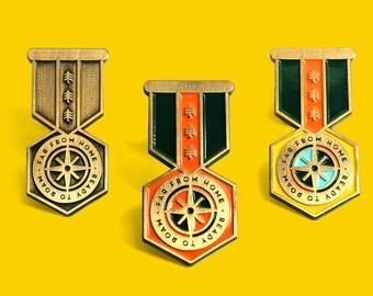 Merit Badge Enamel Lapel Pin Badge by Lorena G / Far from Home Ready to Roam / Wanderlust Travel Adventure Red Yellow Bronze