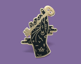 Skeleton Key Hand enamel lapel pin / Witchy vibes accessory  / Palmistry / Chiromancy / Artist Series pin by Camille Chew