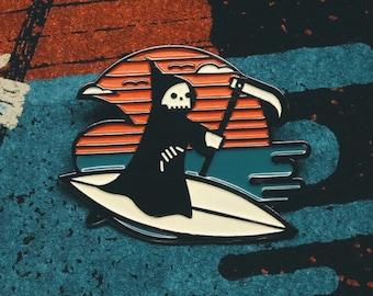 Life's a Beach Enamel Lapel Pin Badge // Summer inspired grim reaper surfing wave ocean surfboard skull gift